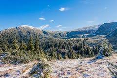 积雪的山景 库存照片