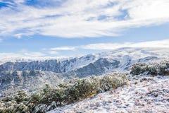 积雪的山景 免版税库存照片