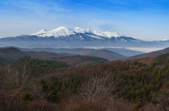 积雪的山 库存照片