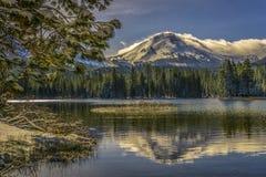积雪的拉森火山和杉木大树枝, Manzanita湖,拉森火山国家公园的反射 图库摄影