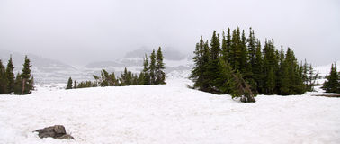 积雪的摇石通过 库存照片