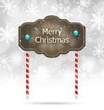 积雪的木标志,圣诞快乐背景 皇族释放例证