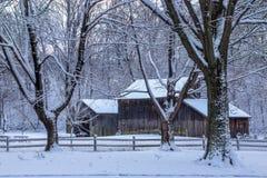 积雪的树和谷仓 图库摄影
