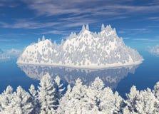 积雪的海岛在海 库存图片