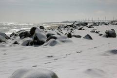 积雪的海滩,桑迪勾子, NJ 库存照片