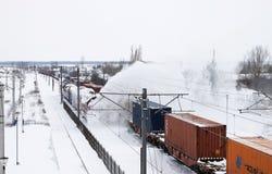 积雪的清除火车 图库摄影