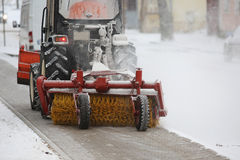 积雪的清除的机器 图库摄影