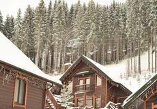 积雪的瑞士山中的牧人小屋,与拷贝空间的冬天背景 免版税图库摄影