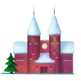 积雪的砖房子在冬天 免版税库存图片