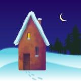积雪的砖房子在冬天 库存图片