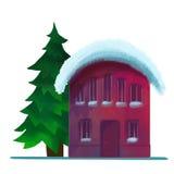 积雪的砖房子在冬天 免版税库存照片