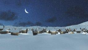 积雪的镇在与月亮的降雪晚上 库存图片