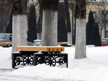 积雪的长凳在城市公园 免版税库存图片