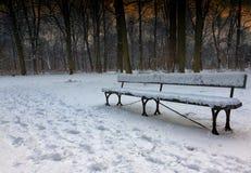 积雪的长凳怀乡照片在公园在冬天, 免版税库存照片