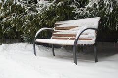积雪的长凳 免版税库存照片