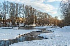 积雪的领域、树和河冬天风景在早期的有薄雾的早晨 免版税库存照片