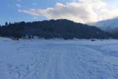 积雪的领域在古尔马尔格,克什米尔 库存图片