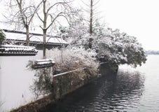 积雪的风景在西湖 库存照片