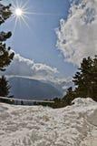 积雪的风景,克什米尔,查谟和克什米尔,印度 免版税库存图片