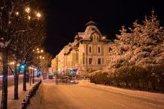 积雪的Muraviev-Amurskiy街道在哈巴罗夫斯克 免版税库存图片