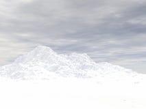 积雪覆盖高度的山 库存照片