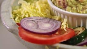 称呼与vegies的食物鳄梨调味酱捣碎的鳄梨酱 股票录像