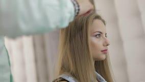 称呼专业的美发师梳式样头发 做容量发型 股票视频