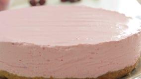 称呼和烹调奶酪蛋糕的食物 影视素材