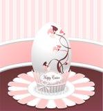 称呼在桃红色颜色的复活节彩蛋与图画花 免版税库存图片