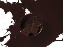 称呼食物巧克力飞溅的面包店 免版税库存图片