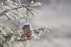 称在冷杉木的冰鞋在雪下 库存图片