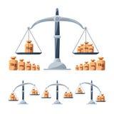 称定标工具 被隔绝的标度的不同的重量 平衡概念图片 库存例证