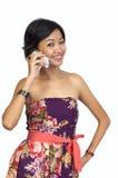 称移动电话愉快有她的查找妇女 库存图片