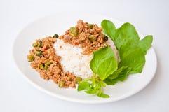称食物kaprao khao moo泰国 库存图片