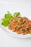 称食物kaprao moo pud泰国 图库摄影