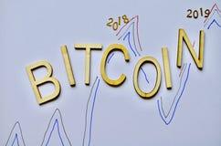 称bitcoin货币硬币2018 2019年背景白色 库存图片