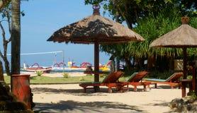 秸杆伞,巴厘岛 免版税库存图片