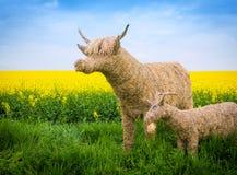 秸杆公牛和山羊 免版税库存图片