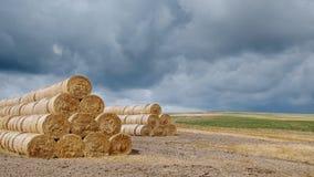 秸杆卷和风雨如磐的天空 库存照片