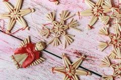 秸杆圣诞节玩具  免版税库存照片