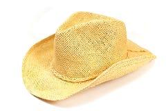 秸杆在白色隔绝的夏天帽子 库存照片