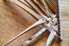 秸杆席子被编织的纹理  免版税库存图片
