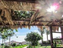 秸杆温泉的风景的眺望台视图 免版税库存照片