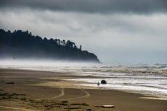 移动向与小山的一个风雨如磐的沿海沙子海滩的雾由移动的厚实的云彩变暗在长滩华盛顿 库存照片
