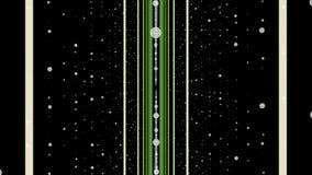 移动和转动在黑背景围拢由白色小点行,无缝的圈的平直的绿色和米黄线 库存例证