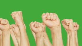 移动在会议的人握紧拳头隔绝在绿色背景 姿态手拳头在绿色色度钥匙 影视素材
