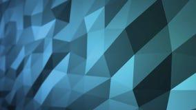 移动在4k的无缝的3d动画的蓝色抽象多角形表面 侧视图 库存例证
