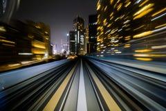 移动城市铁路隧道的行动迷离火车 库存照片