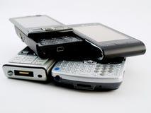 移动现代pda给堆打电话几栈 免版税库存照片