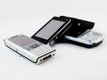 移动现代pda给堆打电话几栈 免版税库存图片